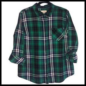 Green Plaid Long Sleeved Flannel / Shirt